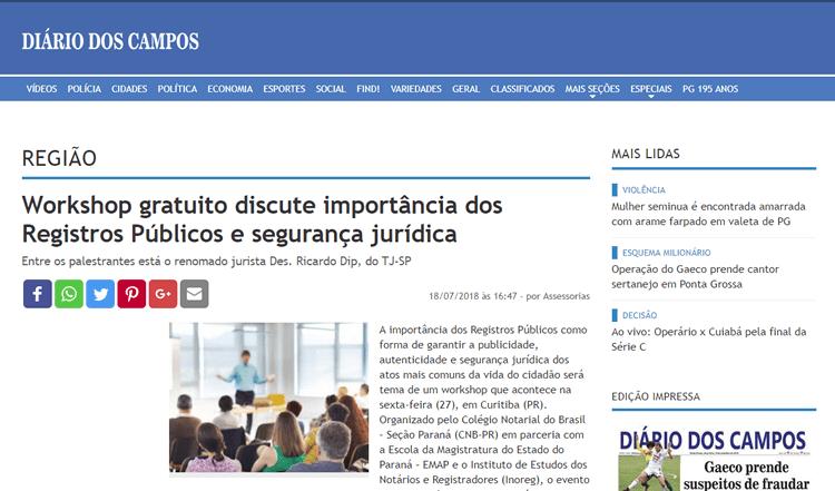 CNB-PR no Diário dos Campos - 18/07/2018